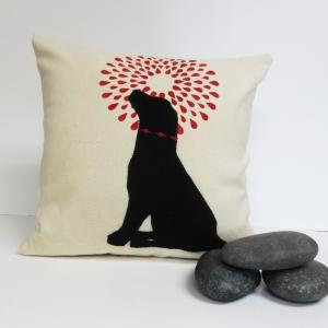 Hand Printed Pillow Cover with Felt..