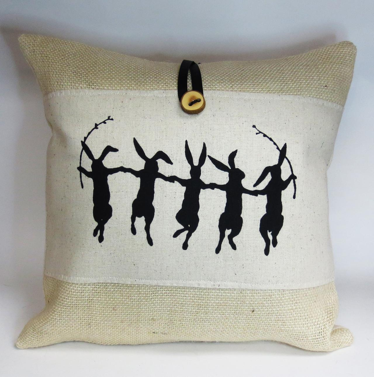 Burlap throw pillow with rabbit hare screen print design