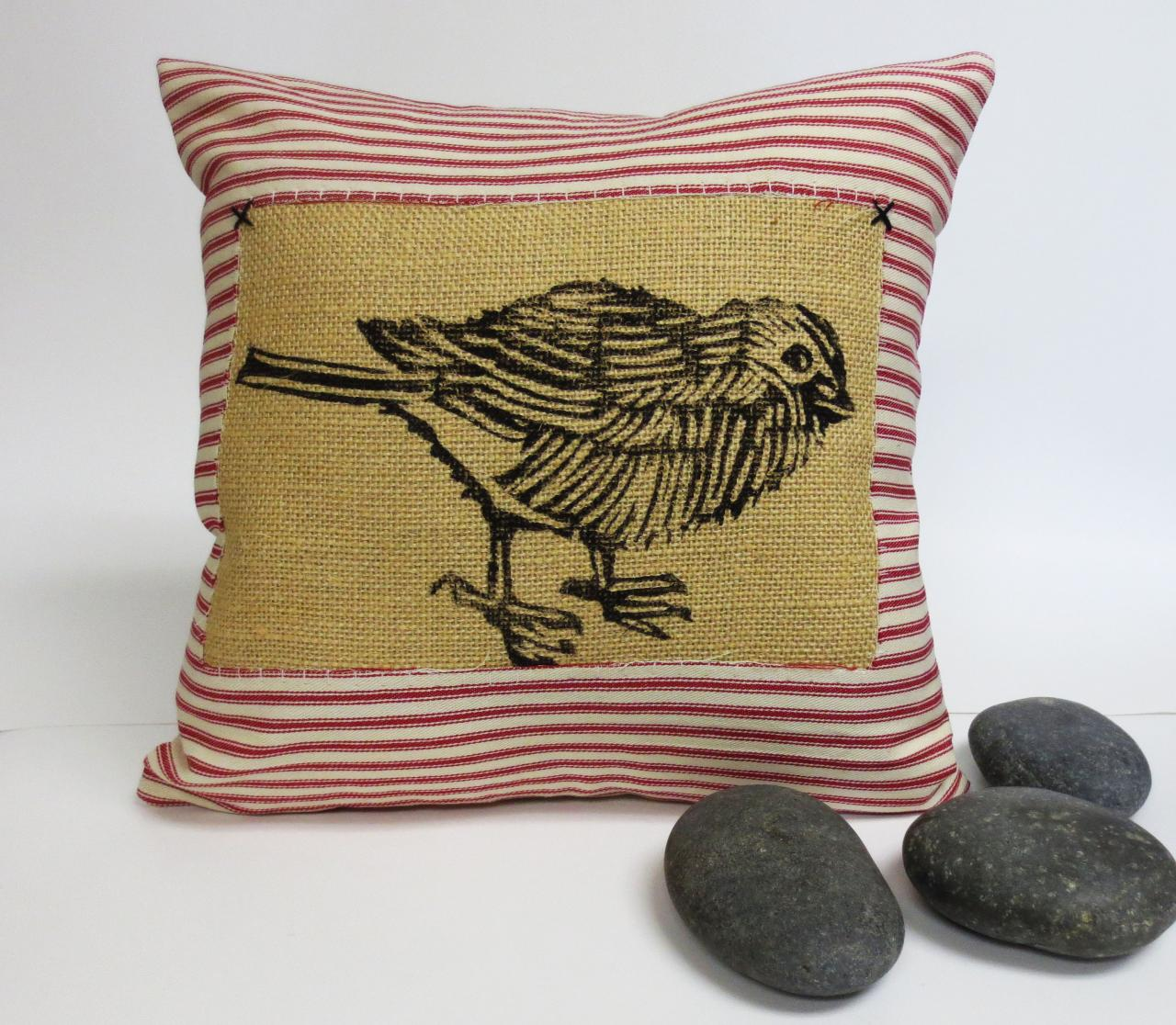 Red Ticking Stripe Pillow Cover with Sparrow Bird Block Print over Burlap - Your Choice of Ticking Stripe