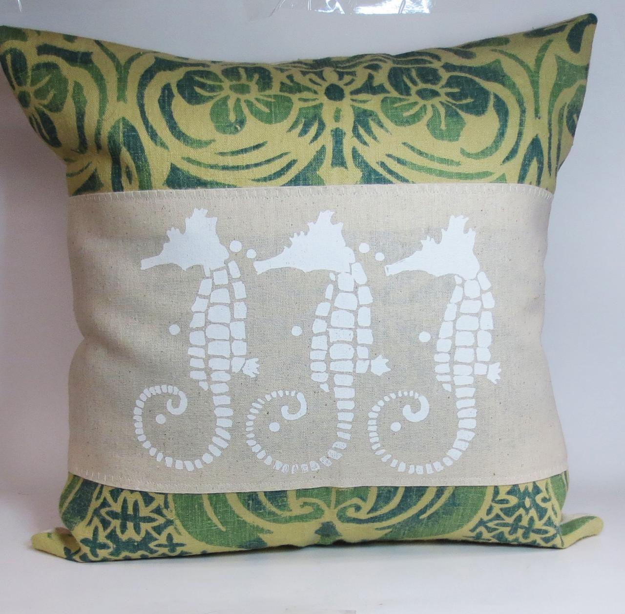Shabby Chic Beach Pillows : Decorative Throw Pillow Cushion Cover With Screen Print White Sea Horses Beach Shabby Chic Theme ...