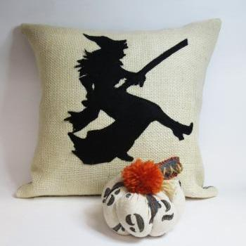 Burlap throw pillow with Felt witch applique