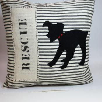 Rescue Dog Silhouette Pillow Cushion Cover