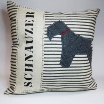 Gray Schnauzer Dog Silhouette Pillow Cushion Cover