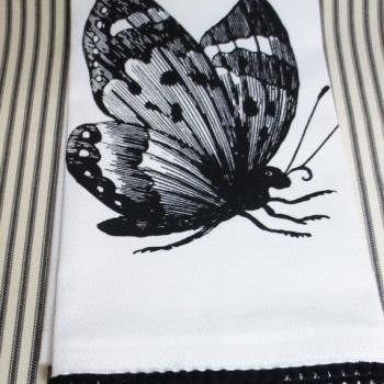 White kitchen towel or tea towel with Butterfly screen print