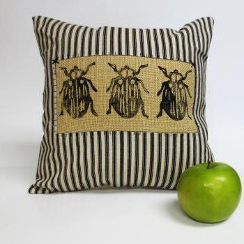 Decorative Pillow Cover with Beetle Hand Block Print Design