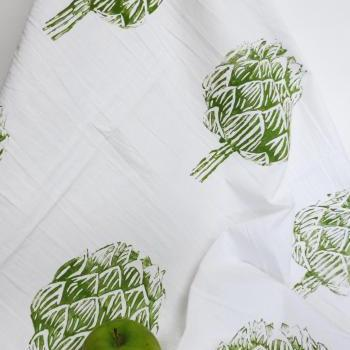 Flour Sack Tea Towel with Artichoke Block Print Design
