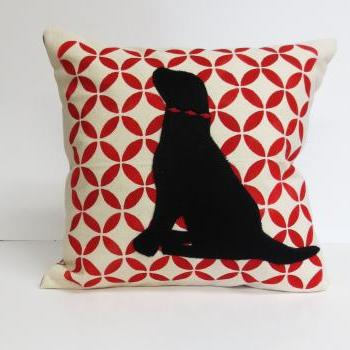 Hand Printed Pillow Cover with Felt Lab Applique