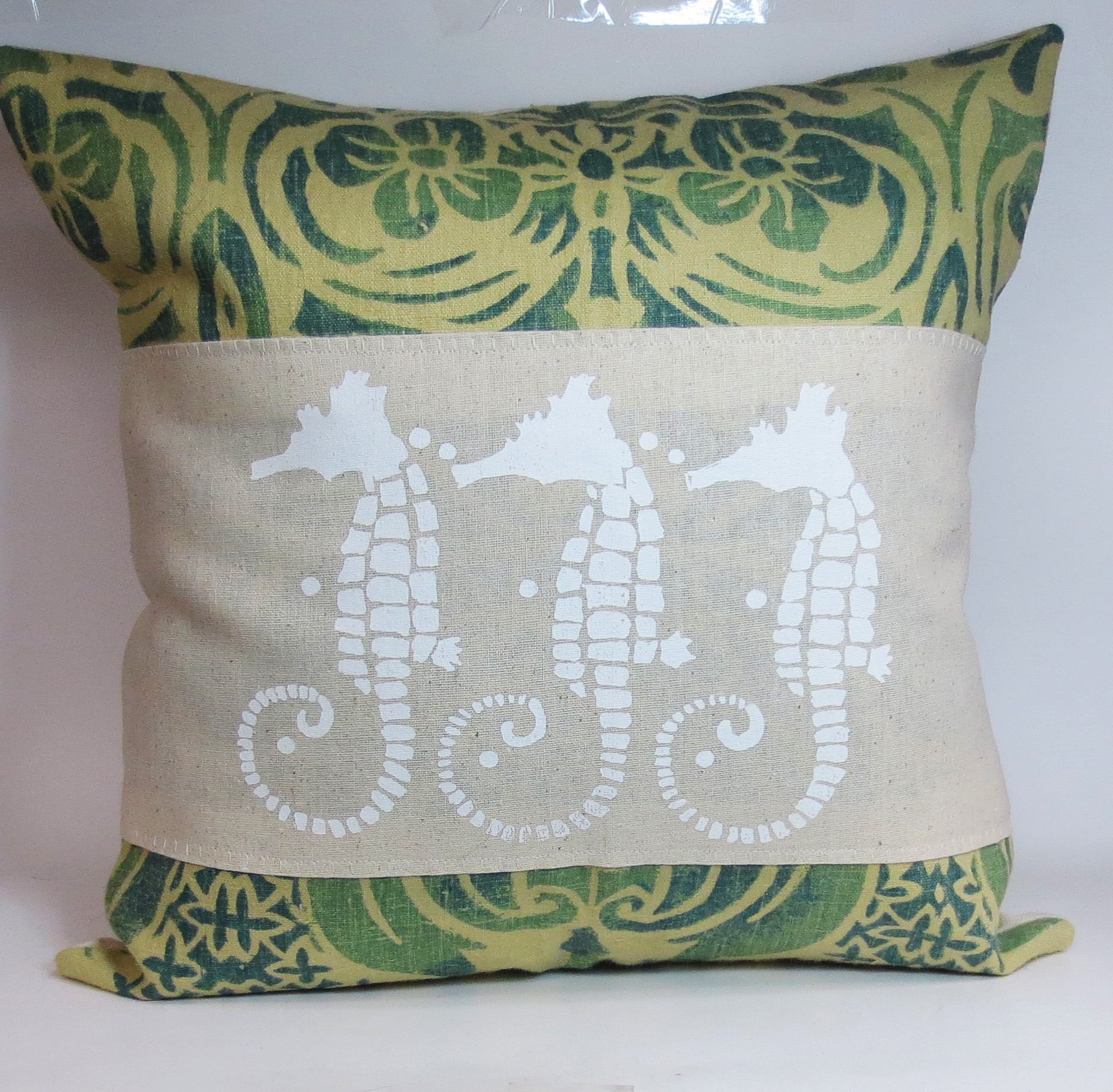 Decorative Throw Pillow Cushion Cover With Screen Print White Sea Horses Beach Shabby Chic Theme ...